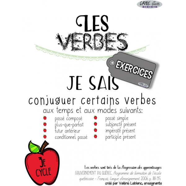 Classes de mots - Verbes à conjuguer
